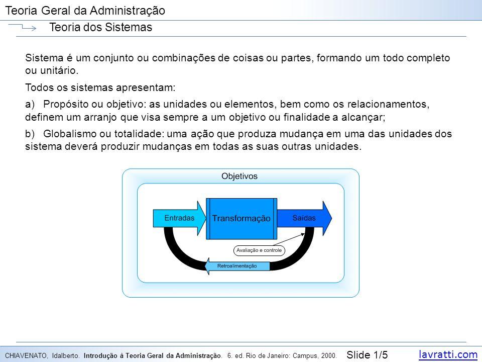lavratti.com Slide 1/5 Teoria Geral da Administração Teoria dos Sistemas Sistema é um conjunto ou combinações de coisas ou partes, formando um todo completo ou unitário.