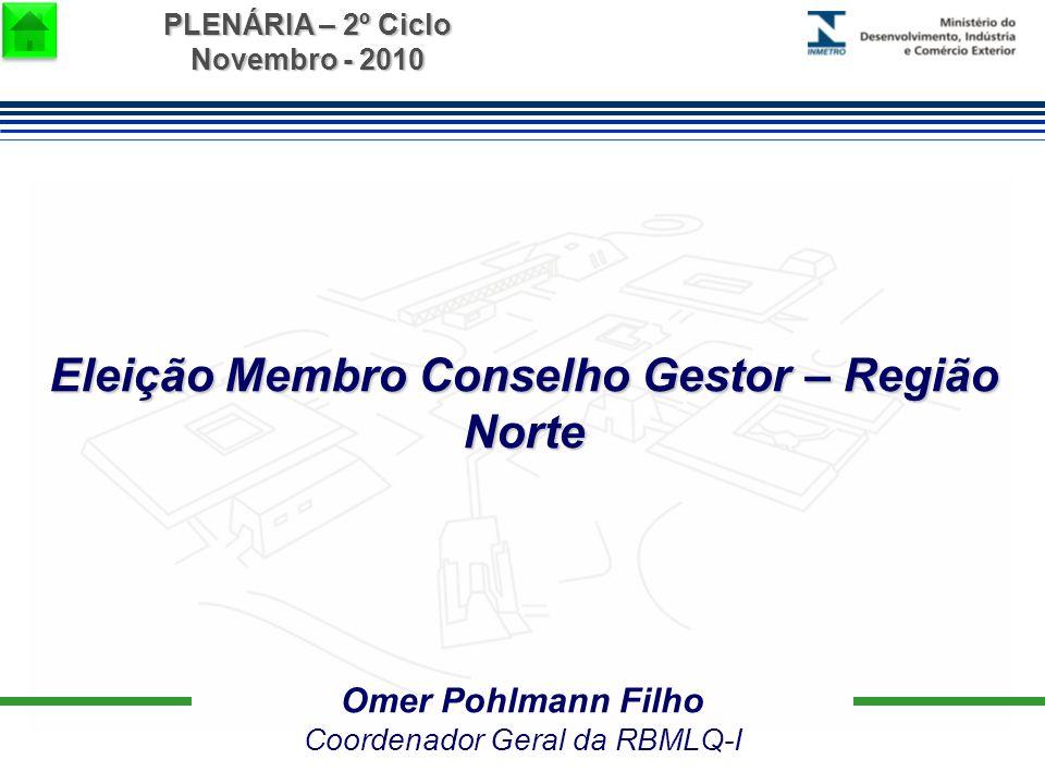 PLENÁRIA – 2º Ciclo Novembro - 2010 Omer Pohlmann Filho Coordenador Geral da RBMLQ-I Eleição Membro Conselho Gestor – Região Norte