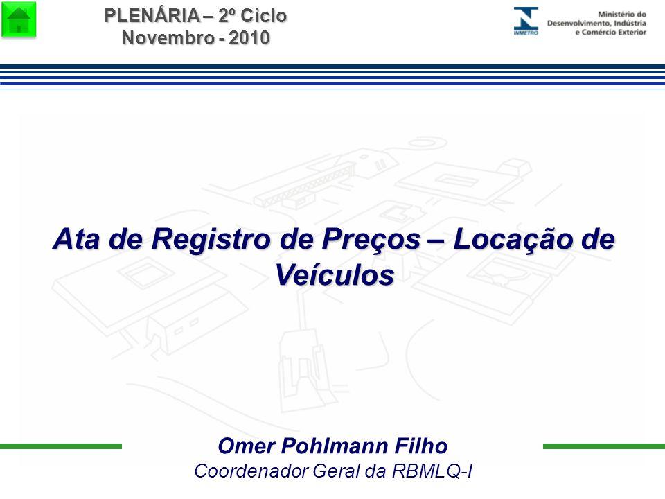 PLENÁRIA – 2º Ciclo Novembro - 2010 Omer Pohlmann Filho Coordenador Geral da RBMLQ-I Ata de Registro de Preços – Locação de Veículos