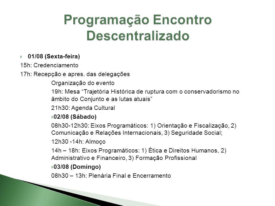  01/08 (Sexta-feira) 15h: Credenciamento 17h: Recepção e apres.