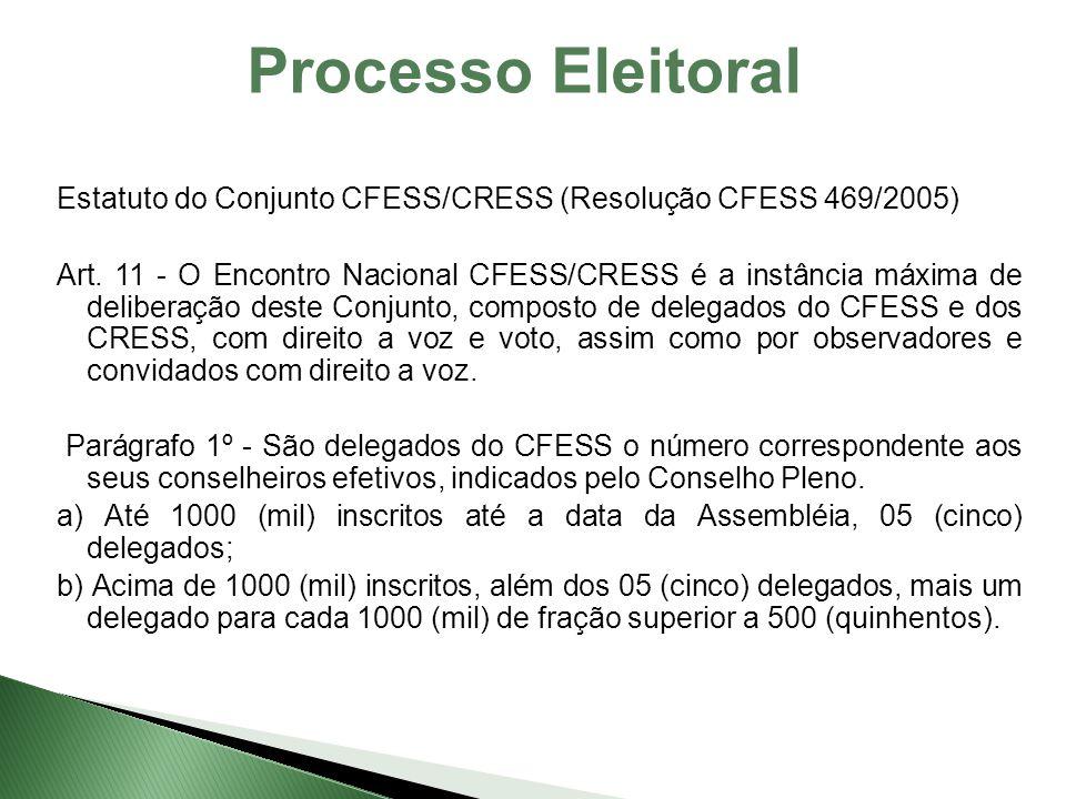 Processo Eleitoral Estatuto do Conjunto CFESS/CRESS (Resolução CFESS 469/2005) Art. 11 - O Encontro Nacional CFESS/CRESS é a instância máxima de delib