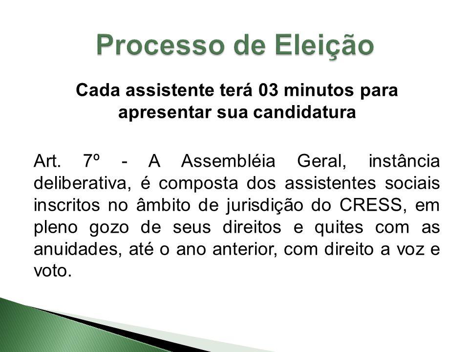 Cada assistente terá 03 minutos para apresentar sua candidatura Art. 7º - A Assembléia Geral, instância deliberativa, é composta dos assistentes socia