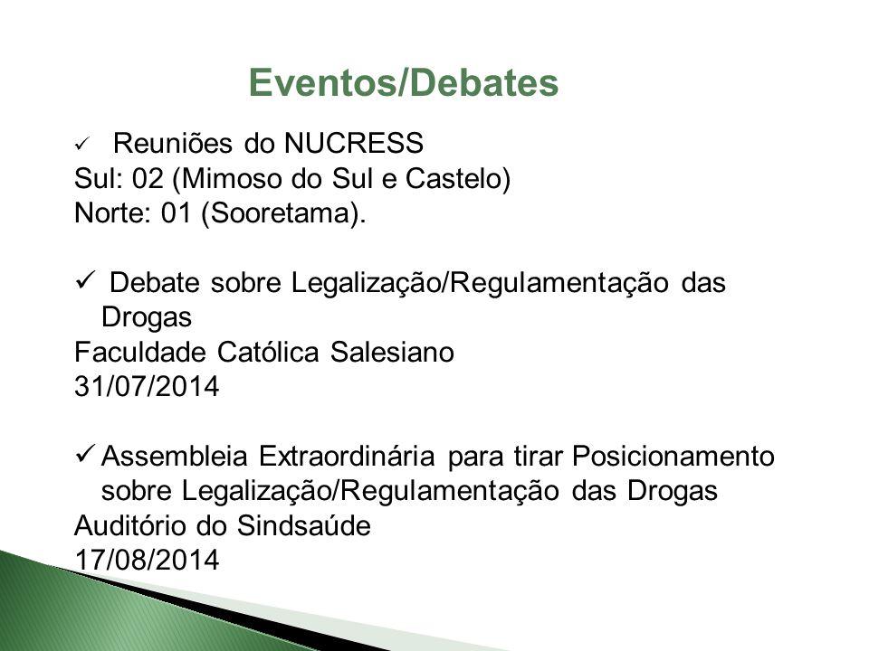 Eventos/Debates Reuniões do NUCRESS Sul: 02 (Mimoso do Sul e Castelo) Norte: 01 (Sooretama). Debate sobre Legalização/Regulamentação das Drogas Faculd