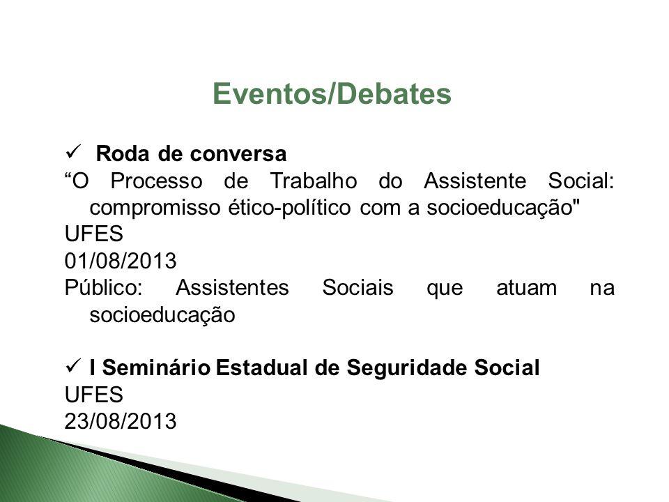 """Roda de conversa """"O Processo de Trabalho do Assistente Social: compromisso ético-político com a socioeducação"""