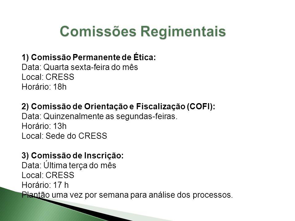 1) Comissão Permanente de Ética: Data: Quarta sexta-feira do mês Local: CRESS Horário: 18h 2) Comissão de Orientação e Fiscalização (COFI): Data: Quin