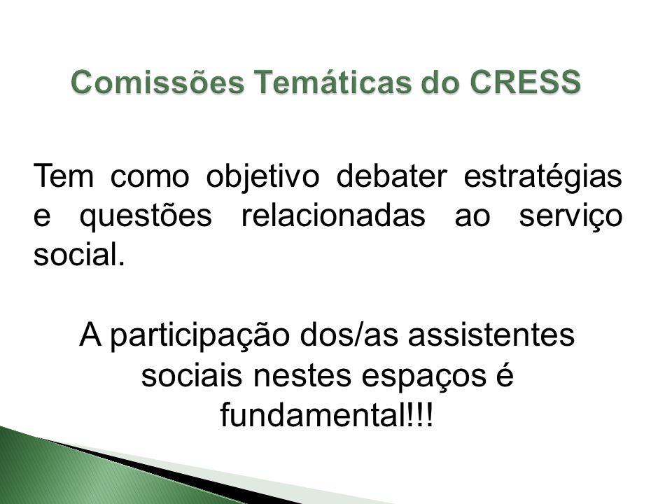Tem como objetivo debater estratégias e questões relacionadas ao serviço social. A participação dos/as assistentes sociais nestes espaços é fundamenta