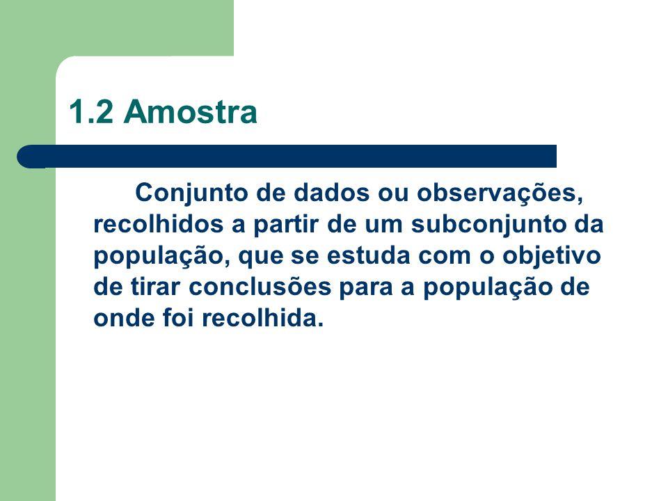 1.2 Amostra Conjunto de dados ou observações, recolhidos a partir de um subconjunto da população, que se estuda com o objetivo de tirar conclusões par