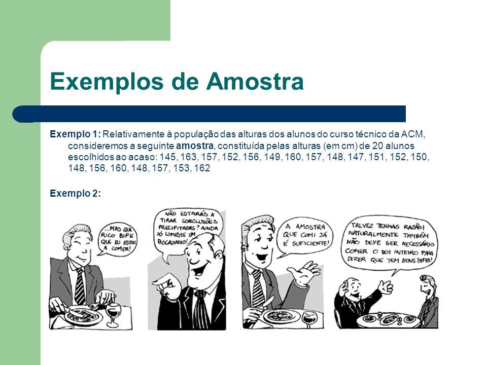 Exemplos de Amostra Exemplo 1: Relativamente à população das alturas dos alunos do curso técnico da ACM, consideremos a seguinte amostra, constituída