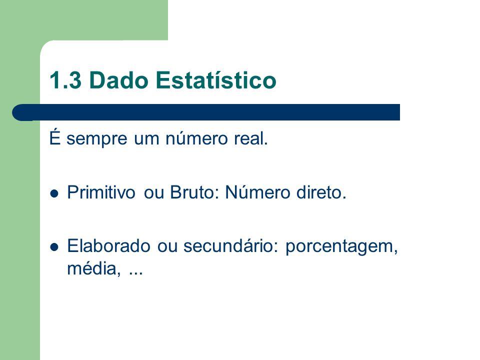 1.3 Dado Estatístico É sempre um número real. Primitivo ou Bruto: Número direto. Elaborado ou secundário: porcentagem, média,...