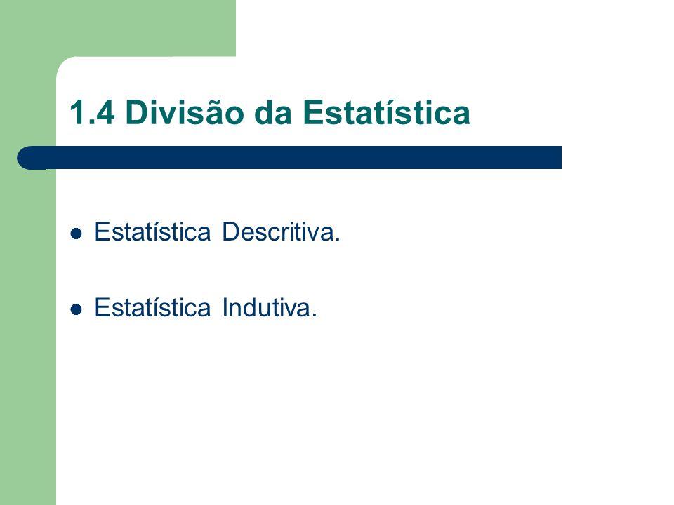 1.4 Divisão da Estatística Estatística Descritiva. Estatística Indutiva.