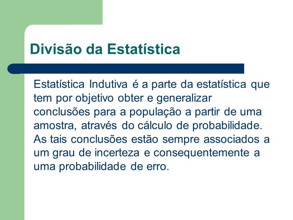 Divisão da Estatística Estatística Indutiva é a parte da estatística que tem por objetivo obter e generalizar conclusões para a população a partir de