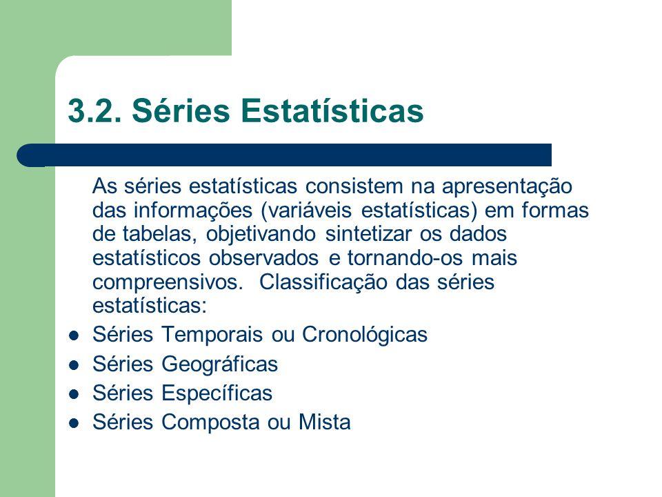 3.2. Séries Estatísticas As séries estatísticas consistem na apresentação das informações (variáveis estatísticas) em formas de tabelas, objetivando s