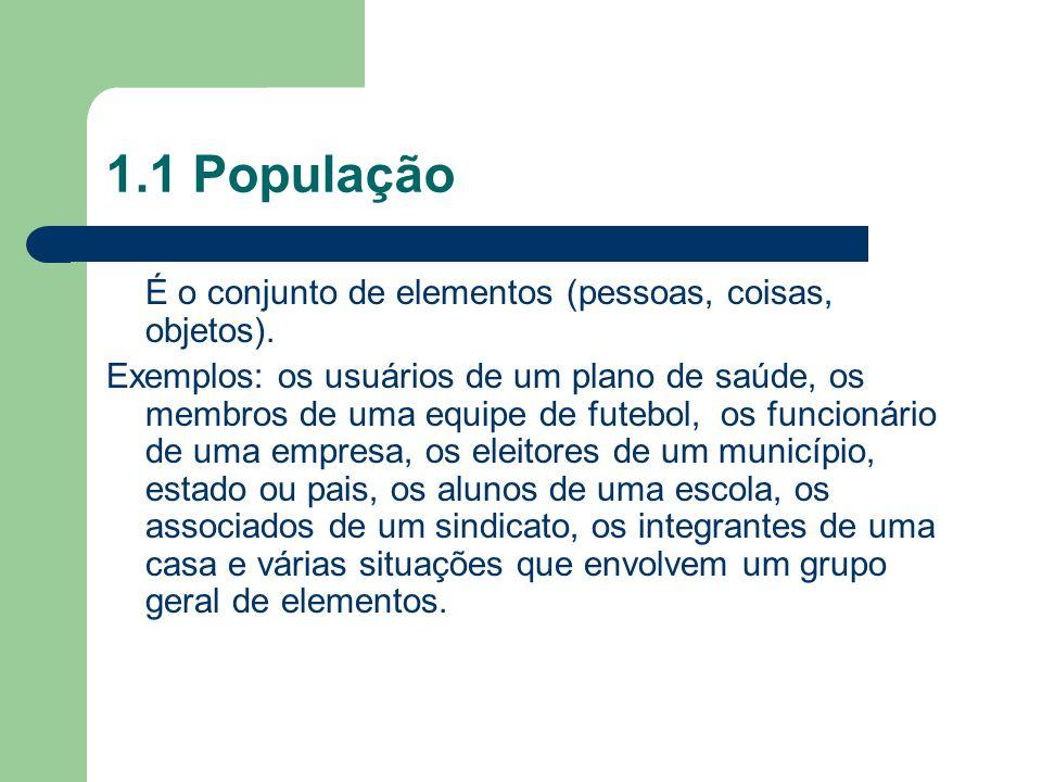 1.1 População É o conjunto de elementos (pessoas, coisas, objetos). Exemplos: os usuários de um plano de saúde, os membros de uma equipe de futebol, o