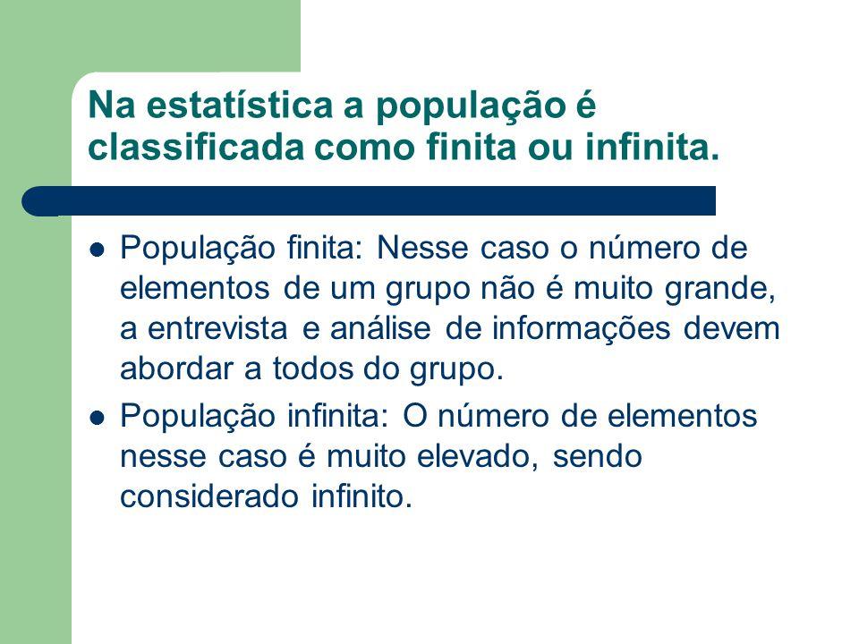 Exemplos de População Exemplo 1: Relativamente à população constituída pelos alunos do ensino técnico matriculados na ACM, podemos estar interessados em estudar as seguintes características populacionais: - Altura (em cm) dos alunos: Depois de medir a altura de cada aluno, obteríamos um conjunto de dados com o seguinte aspecto: 175, 161, 158, 156, 163,...,185, 139, 162 - Notas obtidas na disciplina de Estatística: 7,5; 9; 2,5; 10; 8,5;...