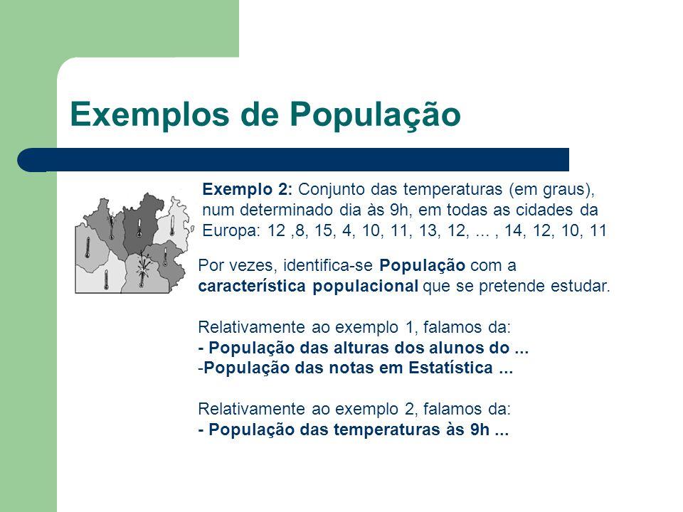 Exemplos de População Exemplo 2: Conjunto das temperaturas (em graus), num determinado dia às 9h, em todas as cidades da Europa: 12,8, 15, 4, 10, 11,
