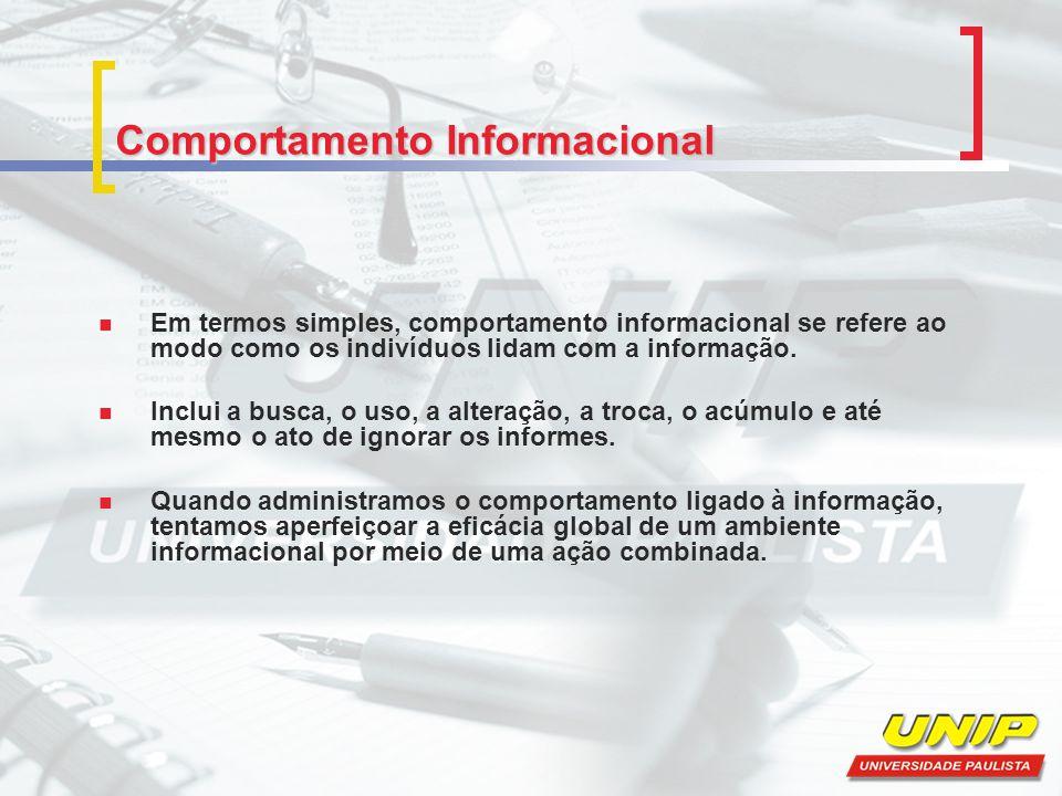 Comportamento Informacional Em termos simples, comportamento informacional se refere ao modo como os indivíduos lidam com a informação. Inclui a busca