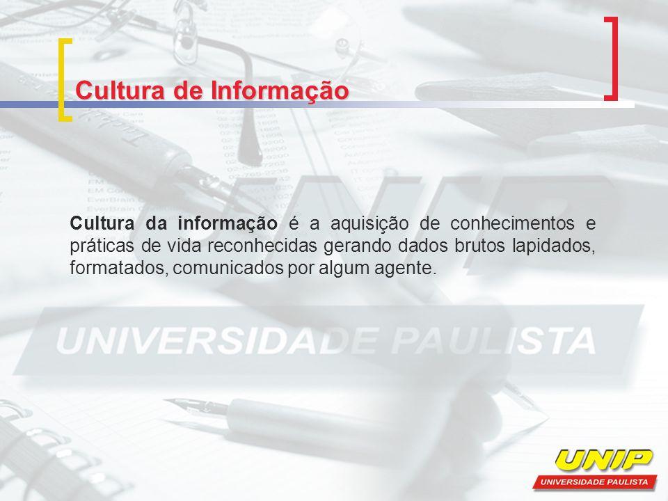 Cultura de Informação Cultura da informação é a aquisição de conhecimentos e práticas de vida reconhecidas gerando dados brutos lapidados, formatados,