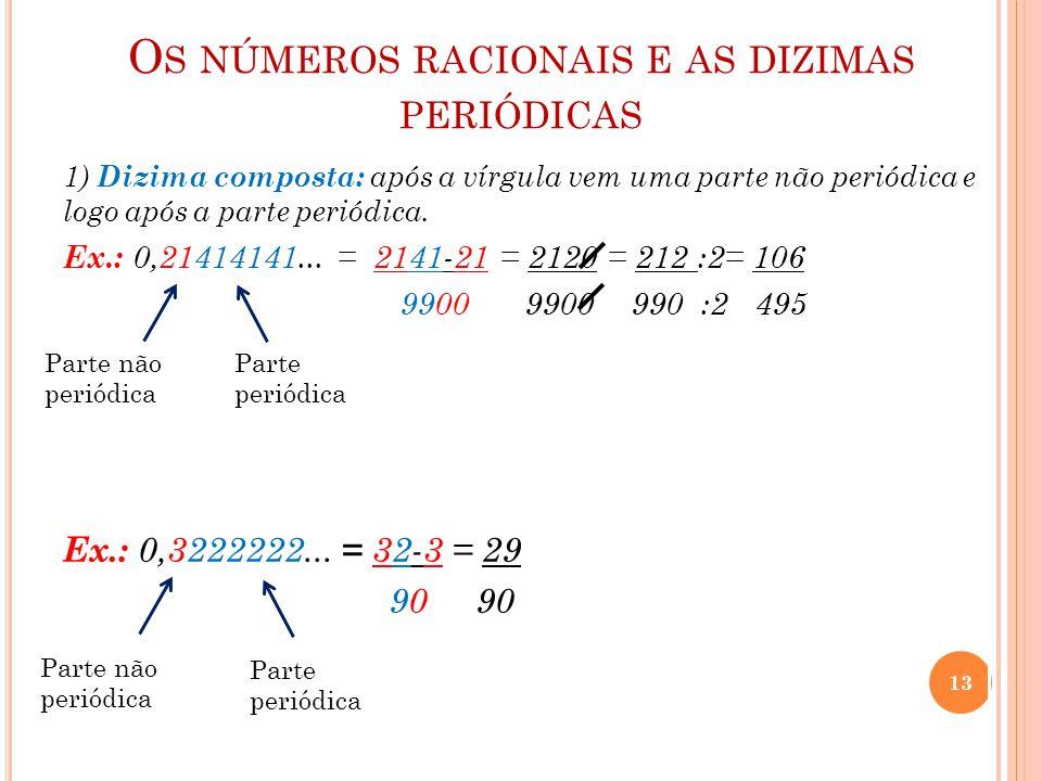 O S NÚMEROS RACIONAIS E AS DIZIMAS PERIÓDICAS 1) Dizima composta: após a vírgula vem uma parte não periódica e logo após a parte periódica. Ex.: 0,214