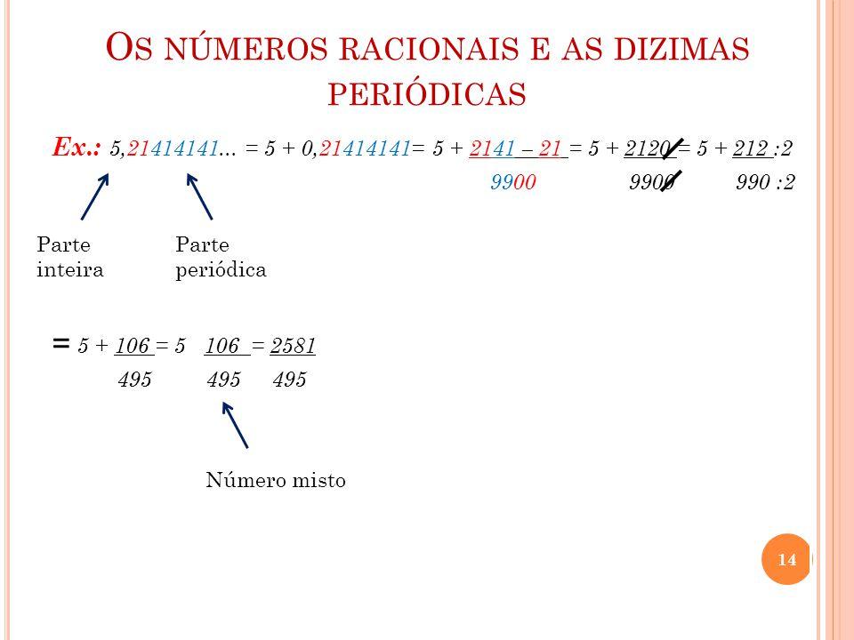 O S NÚMEROS RACIONAIS E AS DIZIMAS PERIÓDICAS Ex.: 5,21414141... = 5 + 0,21414141= 5 + 2141 – 21 = 5 + 2120 = 5 + 212 :2 9900 9900 990 :2 = 5 + 106 =