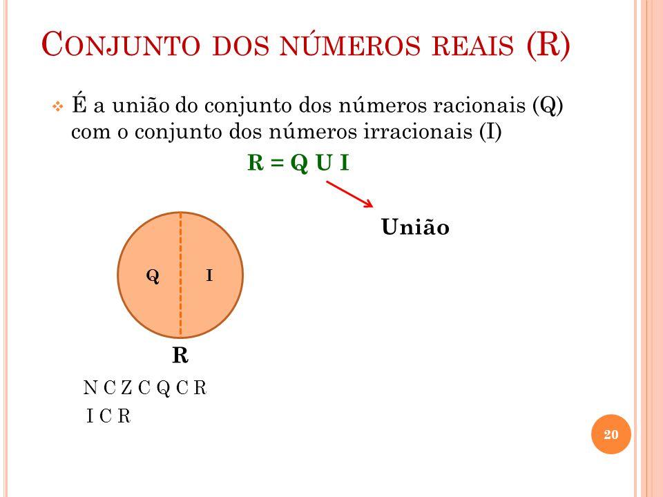 C ONJUNTO DOS NÚMEROS REAIS (R)  É a união do conjunto dos números racionais (Q) com o conjunto dos números irracionais (I) R = Q U I União R N C Z C