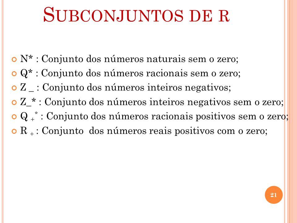 S UBCONJUNTOS DE R N* : Conjunto dos números naturais sem o zero; Q* : Conjunto dos números racionais sem o zero; Z _ : Conjunto dos números inteiros
