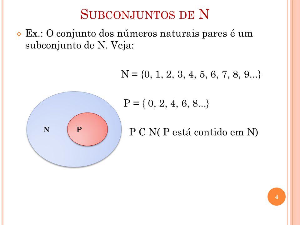 S UBCONJUNTOS DE N  Ex.: O conjunto dos números naturais pares é um subconjunto de N. Veja: N = {0, 1, 2, 3, 4, 5, 6, 7, 8, 9...} P = { 0, 2, 4, 6, 8