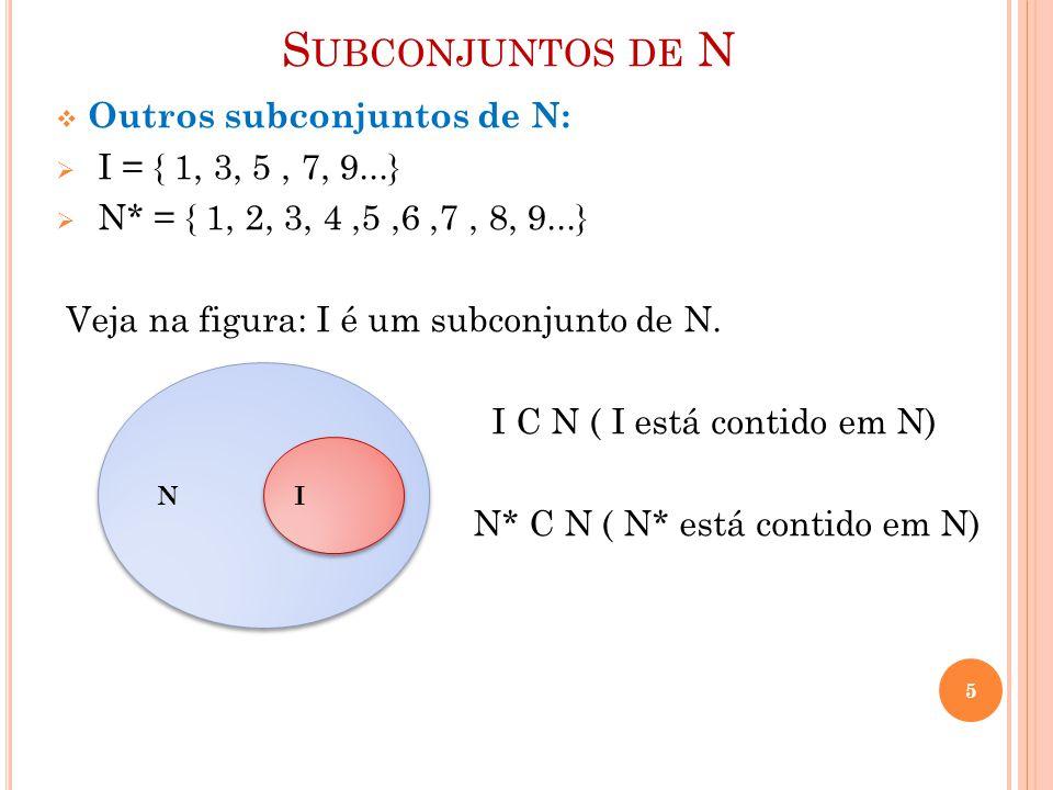 S UBCONJUNTOS DE N  Outros subconjuntos de N:  I = { 1, 3, 5, 7, 9...}  N* = { 1, 2, 3, 4,5,6,7, 8, 9...} Veja na figura: I é um subconjunto de N.