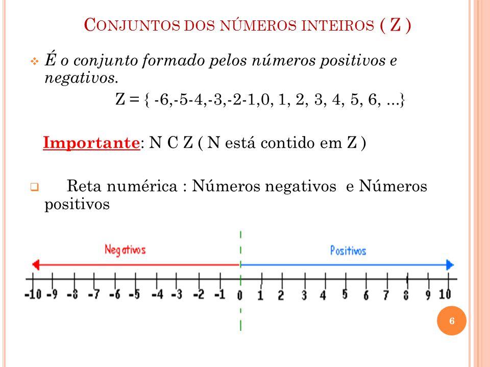 C ONJUNTOS DOS NÚMEROS INTEIROS ( Z )  É o conjunto formado pelos números positivos e negativos. Z = { -6,-5-4,-3,-2-1,0, 1, 2, 3, 4, 5, 6,...} Impor