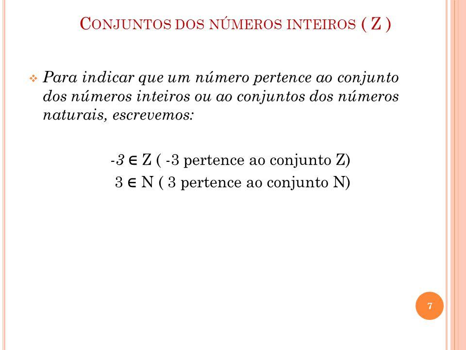 C ONJUNTOS DOS NÚMEROS INTEIROS ( Z )  Para indicar que um número pertence ao conjunto dos números inteiros ou ao conjuntos dos números naturais, esc
