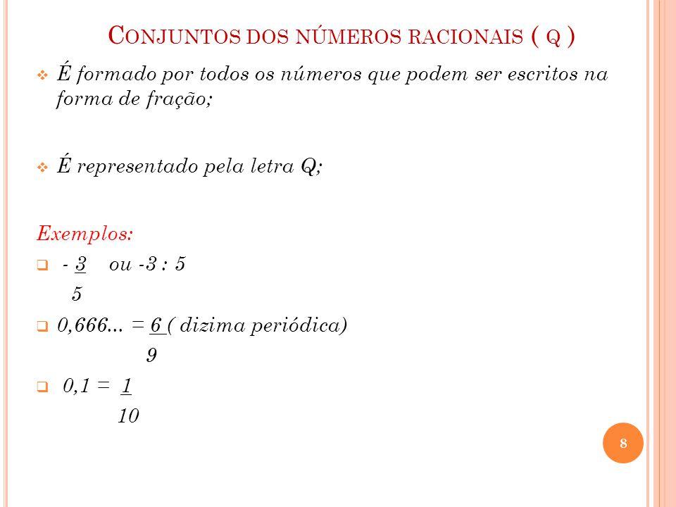 C ONJUNTOS DOS NÚMEROS RACIONAIS ( Q )  É formado por todos os números que podem ser escritos na forma de fração;  É representado pela letra Q; Exem
