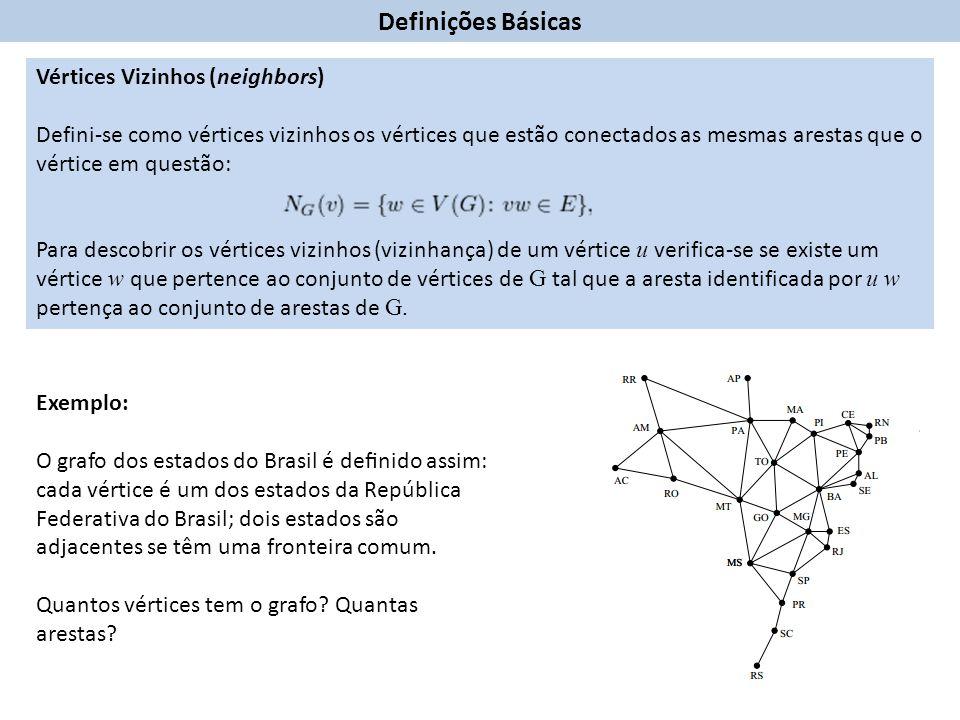 Definições Básicas Vértices Vizinhos (neighbors) Defini-se como vértices vizinhos os vértices que estão conectados as mesmas arestas que o vértice em questão: Para descobrir os vértices vizinhos (vizinhança) de um vértice u verifica-se se existe um vértice w que pertence ao conjunto de vértices de G tal que a aresta identificada por u w pertença ao conjunto de arestas de G.