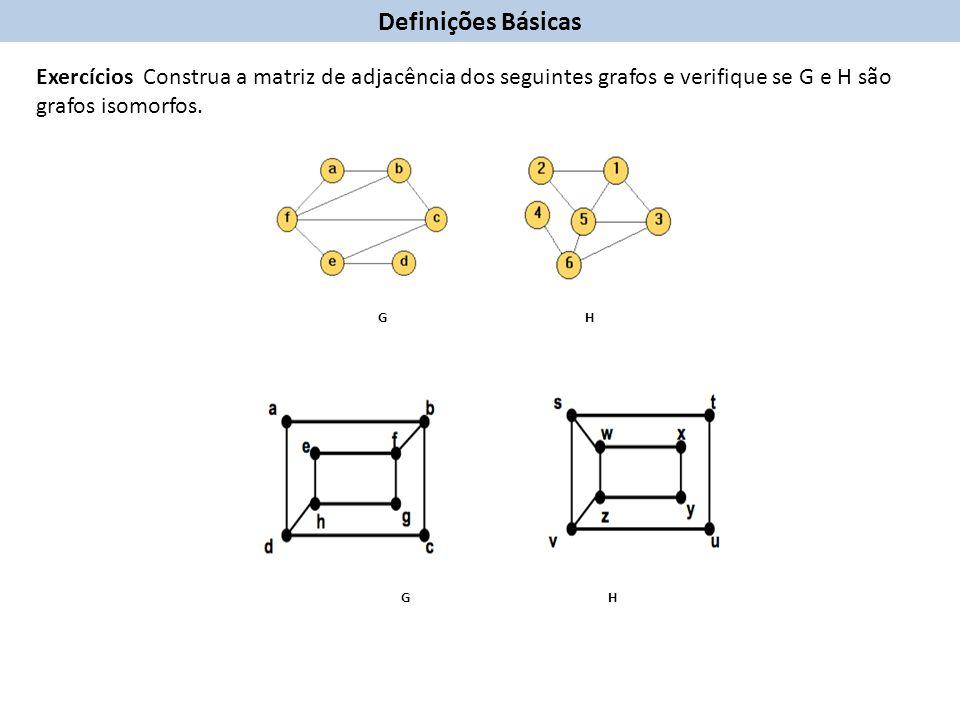 Exercícios Construa a matriz de adjacência dos seguintes grafos e verifique se G e H são grafos isomorfos.