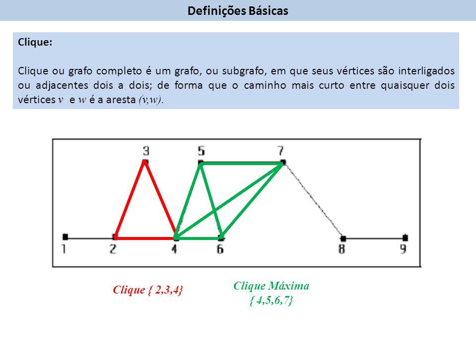 Clique: Clique ou grafo completo é um grafo, ou subgrafo, em que seus vértices são interligados ou adjacentes dois a dois; de forma que o caminho mais curto entre quaisquer dois vértices v e w é a aresta (v,w).