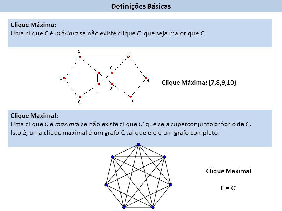Clique Máxima: Uma clique C é máxima se não existe clique C que seja maior que C.