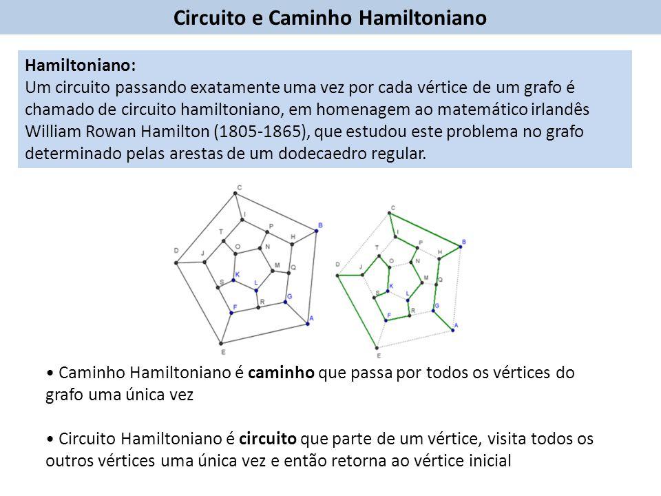 Circuito e Caminho Hamiltoniano Caminho Hamiltoniano é caminho que passa por todos os vértices do grafo uma única vez Circuito Hamiltoniano é circuito que parte de um vértice, visita todos os outros vértices uma única vez e então retorna ao vértice inicial Hamiltoniano: Um circuito passando exatamente uma vez por cada vértice de um grafo é chamado de circuito hamiltoniano, em homenagem ao matemático irlandês William Rowan Hamilton (1805-1865), que estudou este problema no grafo determinado pelas arestas de um dodecaedro regular.