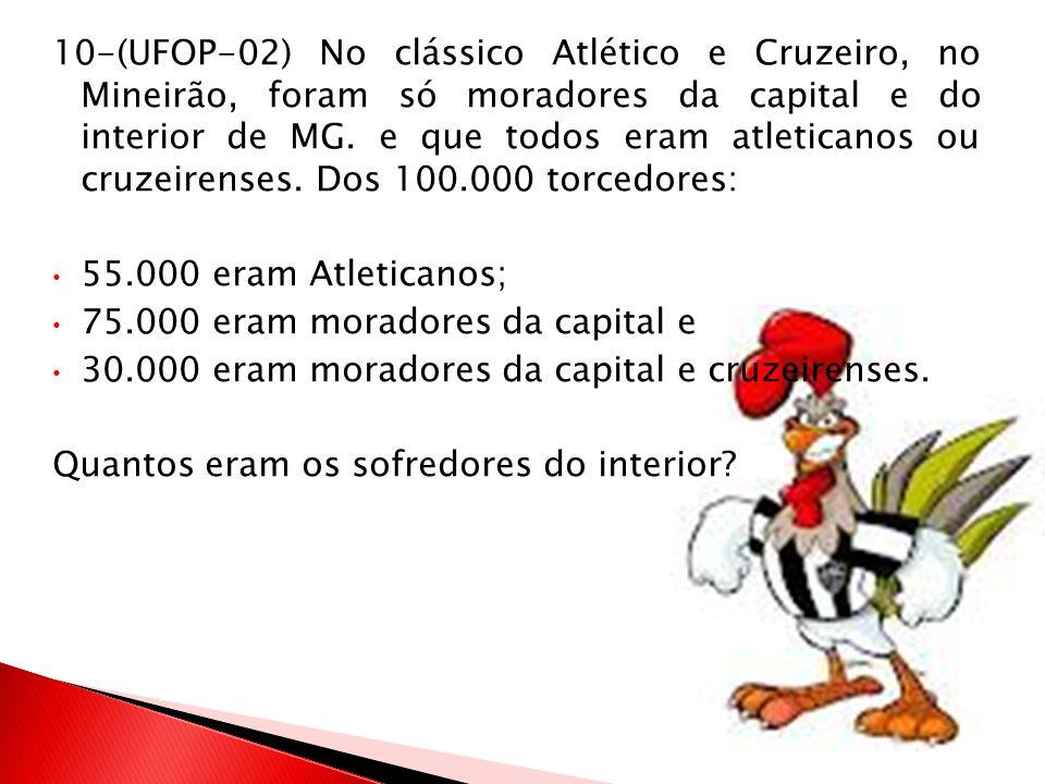 10-(UFOP-02) No clássico Atlético e Cruzeiro, no Mineirão, foram só moradores da capital e do interior de MG. e que todos eram atleticanos ou cruzeire