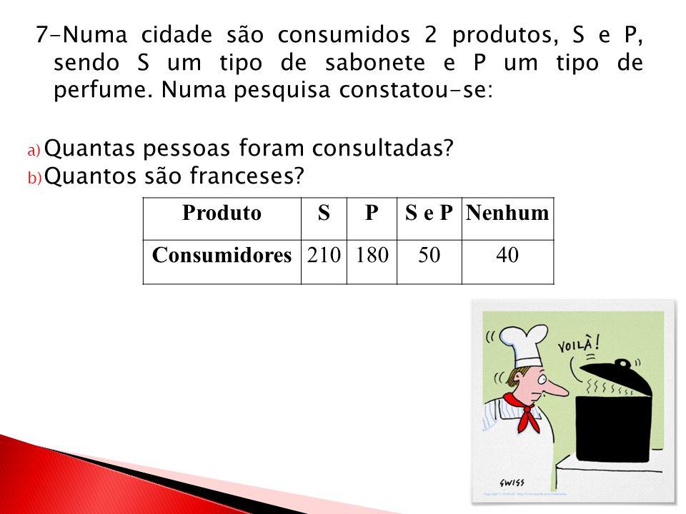 7-Numa cidade são consumidos 2 produtos, S e P, sendo S um tipo de sabonete e P um tipo de perfume. Numa pesquisa constatou-se: a) Quantas pessoas for