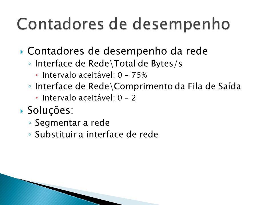  Contadores de desempenho da rede ◦ Interface de Rede\Total de Bytes/s  Intervalo aceitável: 0 – 75% ◦ Interface de Rede\Comprimento da Fila de Saíd