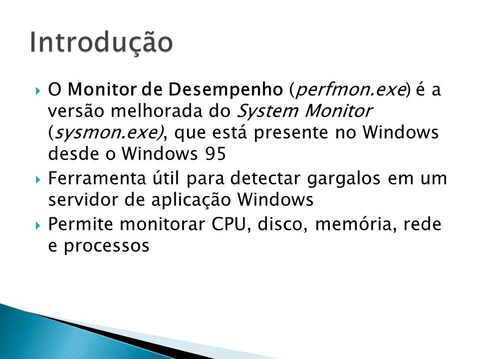  O Monitor de Desempenho (perfmon.exe) é a versão melhorada do System Monitor (sysmon.exe), que está presente no Windows desde o Windows 95  Ferrame