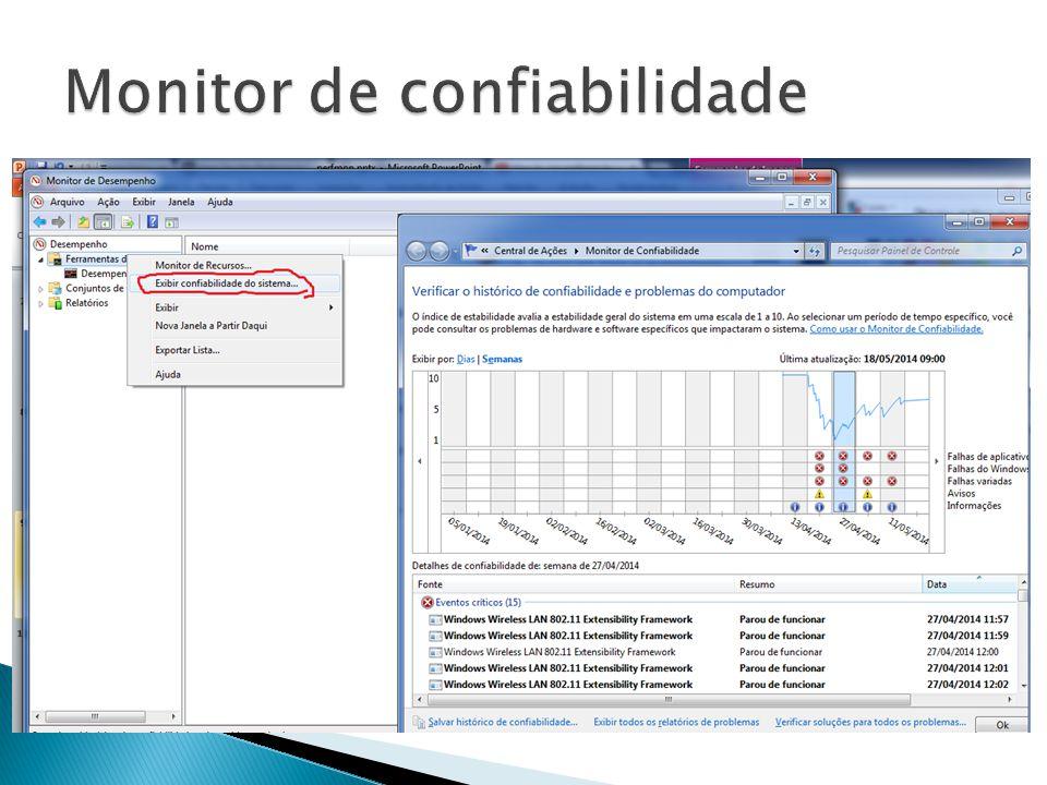  O Monitor de Desempenho coleta dados a partir de três fontes ◦ Contador de desempenho: refletem parte do estado do sistema ou atividade ◦ Rastreamento de eventos: permitem escutar determinados eventos de um sistema ou aplicação ◦ Informação de configuração: coletado a partir de informações do registro do Windows  O Monitor de Desempenho agrupa várias métricas coletadas a partir das fontes acima em uma unidade chamada Conjunto de Coletores de Dados