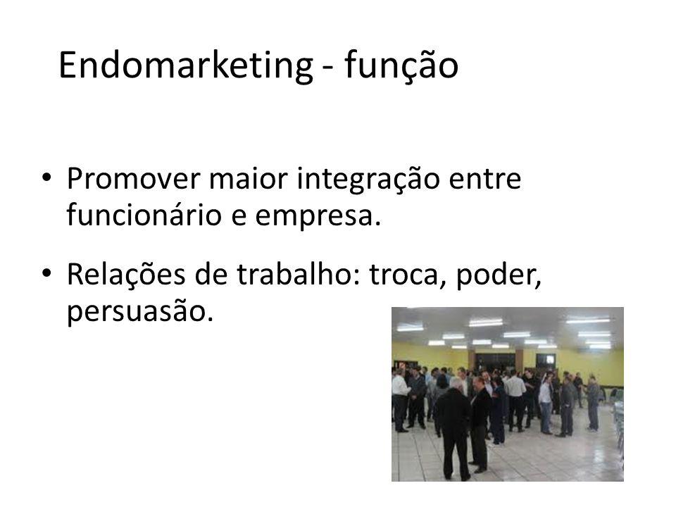 Endomarketing - função Promover maior integração entre funcionário e empresa. Relações de trabalho: troca, poder, persuasão.