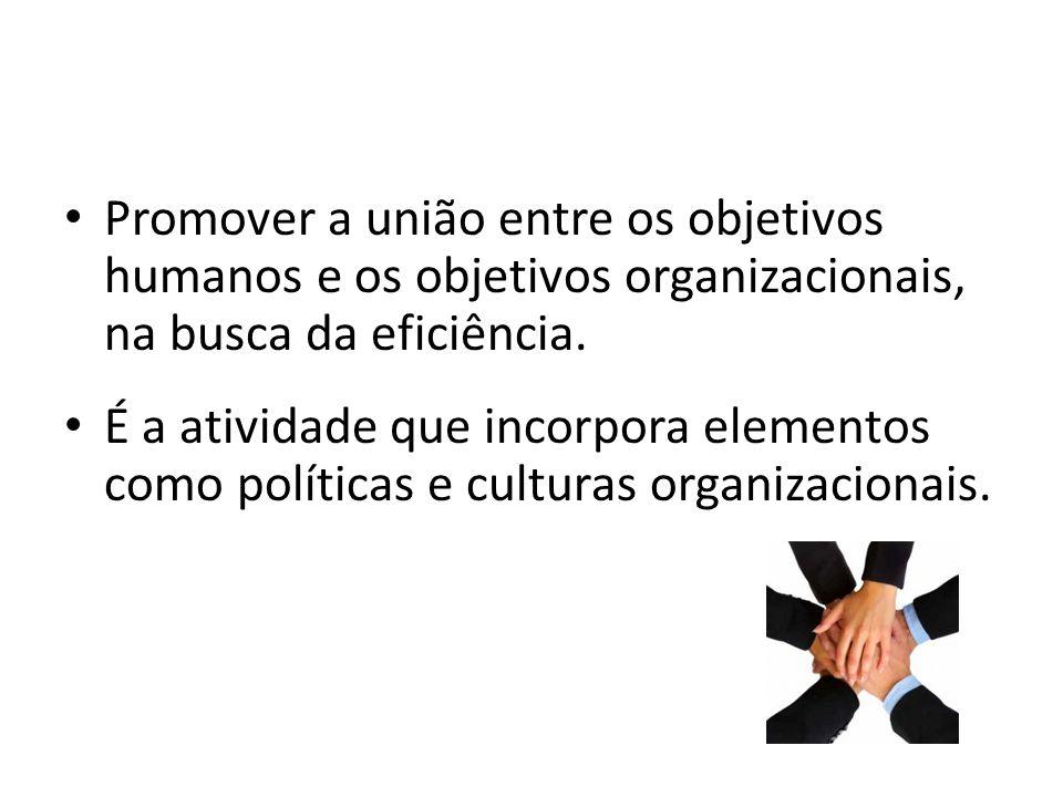 Promover a união entre os objetivos humanos e os objetivos organizacionais, na busca da eficiência. É a atividade que incorpora elementos como polític
