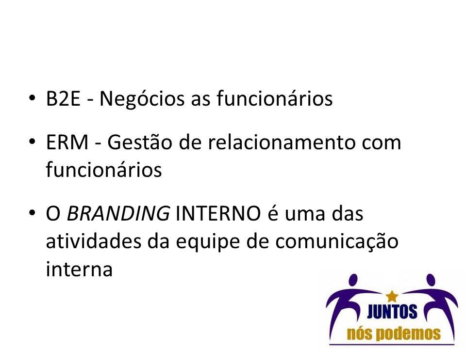 B2E - Negócios as funcionários ERM - Gestão de relacionamento com funcionários O BRANDING INTERNO é uma das atividades da equipe de comunicação intern