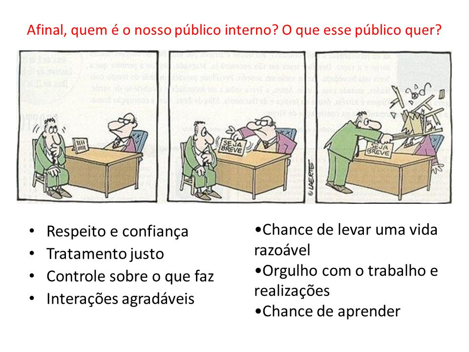 Afinal, quem é o nosso público interno? O que esse público quer? Respeito e confiança Tratamento justo Controle sobre o que faz Interações agradáveis