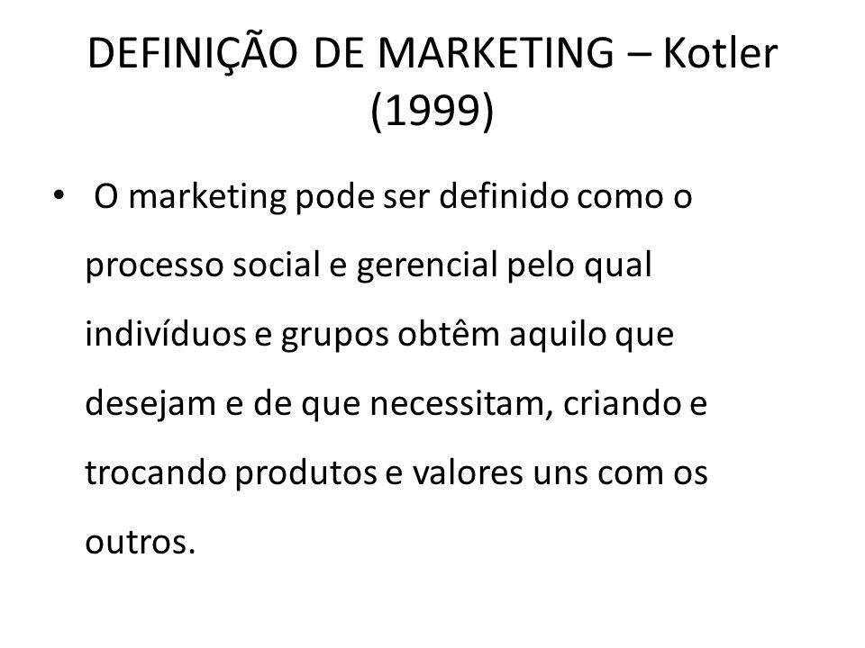 DEFINIÇÃO DE MARKETING – Kotler (1999) O marketing pode ser definido como o processo social e gerencial pelo qual indivíduos e grupos obtêm aquilo que desejam e de que necessitam, criando e trocando produtos e valores uns com os outros.
