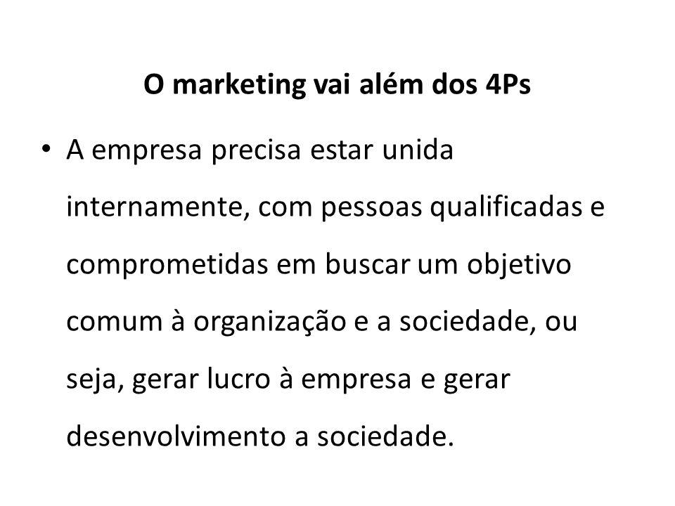 O marketing vai além dos 4Ps A empresa precisa estar unida internamente, com pessoas qualificadas e comprometidas em buscar um objetivo comum à organização e a sociedade, ou seja, gerar lucro à empresa e gerar desenvolvimento a sociedade.