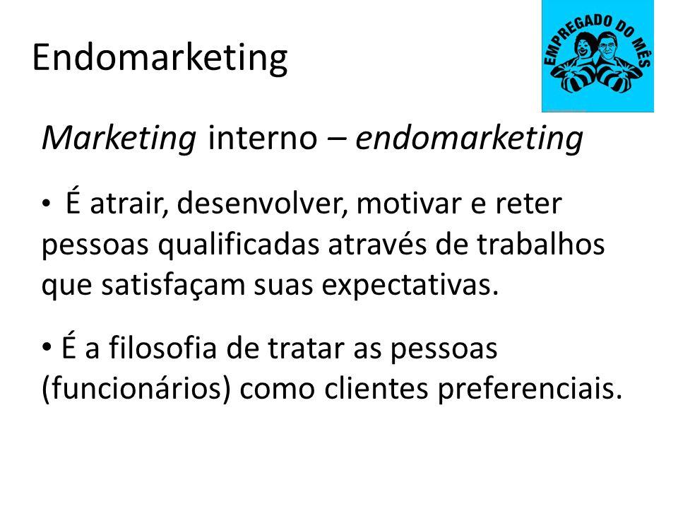 Endomarketing Marketing interno – endomarketing É atrair, desenvolver, motivar e reter pessoas qualificadas através de trabalhos que satisfaçam suas e