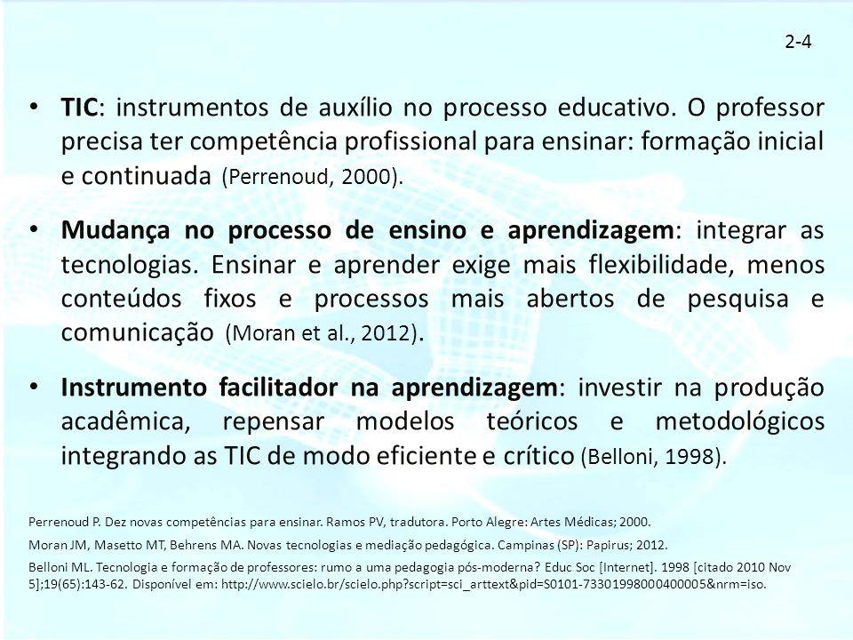 TIC: instrumentos de auxílio no processo educativo. O professor precisa ter competência profissional para ensinar: formação inicial e continuada (Perr