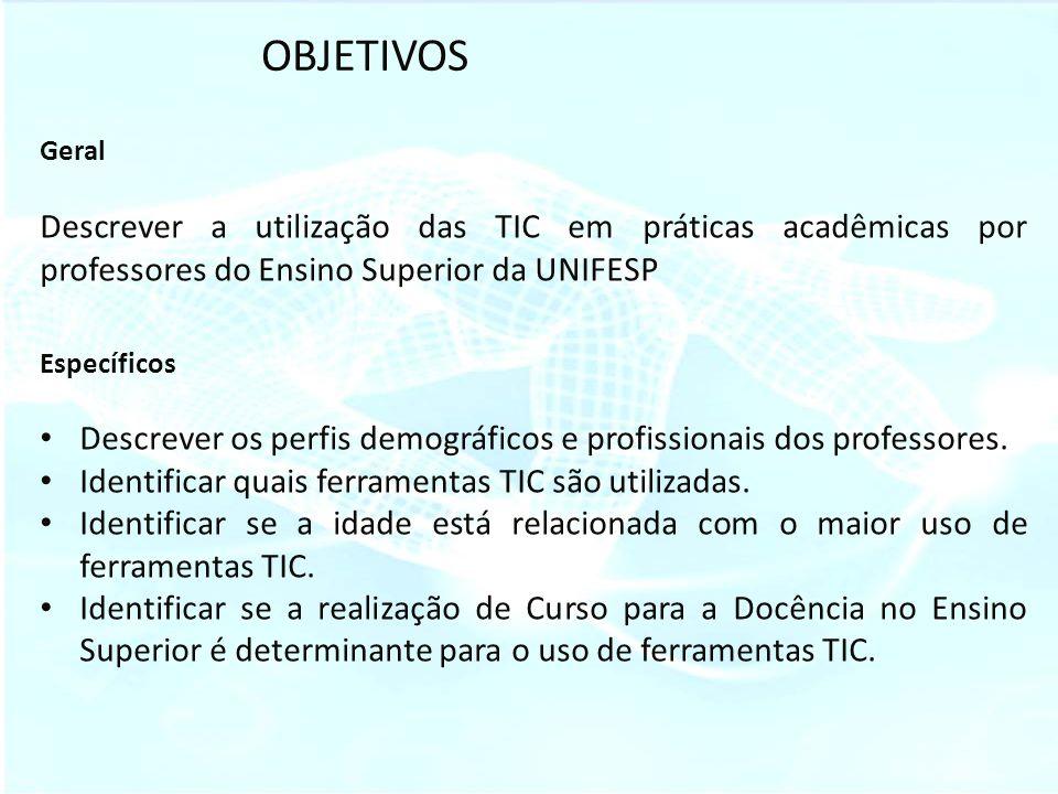 OBJETIVOS Geral Descrever a utilização das TIC em práticas acadêmicas por professores do Ensino Superior da UNIFESP Específicos Descrever os perfis de