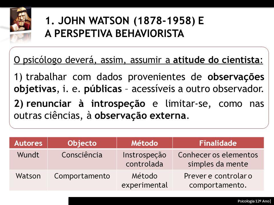 1. JOHN WATSON (1878-1958) E A PERSPETIVA BEHAVIORISTA Psicologia 12º Ano| AutoresObjectoMétodoFinalidade WundtConsciênciaInstrospeção controlada Conh